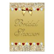Gold Bridal Shower Faux Sequins Hearts Bow