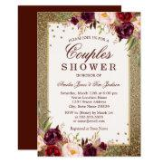 Gold Burgundy Floral Sparkle Couples Shower