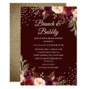 Gold Confetti Burgundy Floral Brunch And Bubbly