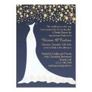Gold Confetti, Wedding Gown On Blue Bridal Shower