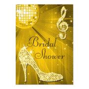 Gold Disco Ball and Sparkle Heels Bridal Shower Personalized Invite