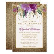 Gold Floral Sparkling Amethyst Bridal Shower