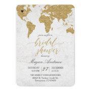 Gold Foil World Map Bridal Shower