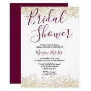 Gold Glitter Burgundy Bridal Shower Invitations