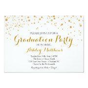 Gold Glitter Dots Graduation Party