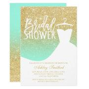 Gold Glitter Mint Elegant Chic Dress Bridal Shower
