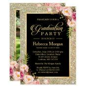 Gold Glitters Floral 2018 Photo Graduation Party