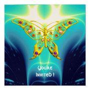 Gold Hyper Butterfly,gems,teal Blue Fractal Waves
