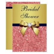 Gold Navy Coral Sequins Diamonds Bow Bridal Shower