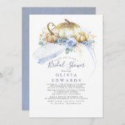 Gold Pumpkins Dusty Blue Floral Fall Bridal Shower Invitation