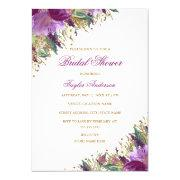 Gold Purple Glitter Amethyst Floral Bridal Shower