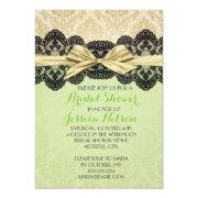 Gold Ribbon Damask Lace Green Bridal Shower