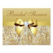 Gold Sequins, Bow & Diamond Bridal Shower Custom Announcements