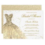 Gold Sparkle Glitter Dress Bridal Shower Invitation