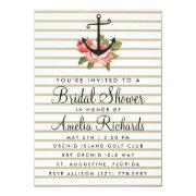 Gold Stripe Nautical Anchor Bridal Shower Invite