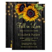 Gold Sunflowers Country Barn Wood Bridal Shower Invitation
