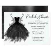 Goth Glamour Black Pixie Wing Gown Bridal Shower Invitations