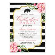 Graduation Party Watercolor Floral Gold Glitter