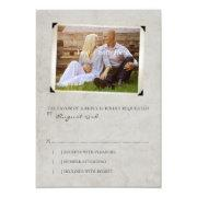 Gray Old Photo Album Page Wedding rsvp Custom Invite