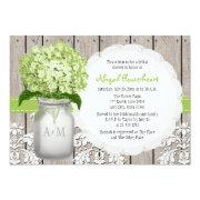 Green Hydrangea Monogram Mason Jar Bridal Shower