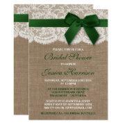 Green Ribbon On Burlap & Lace Bridal Shower