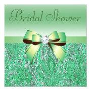 Green Sequins, Bow & Diamond Bridal Shower