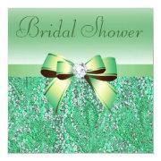 Green Sequins, Bow & Diamond Bridal Shower Custom Invitation