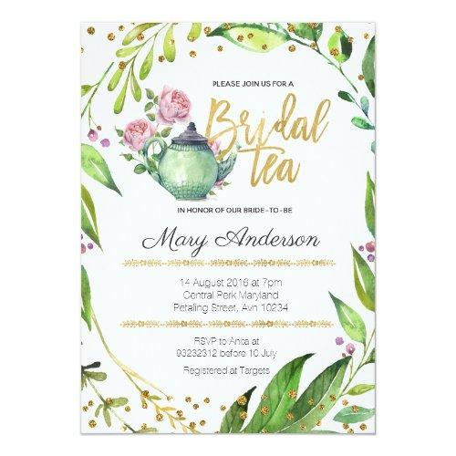 Greenery Botanical Bridal Tea Party Invitation