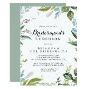 Greenery Calligraphy Bridesmaids Luncheon Shower Invitation