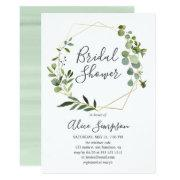 Greenery Eucalyptus Geometric Bridal Shower Invitation