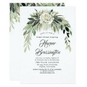 Greenery Garland Elegant Vintage Bridal Shower Invitation