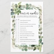 Greenery Succulent Over Or Under Bridal Game