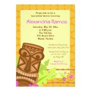 Hawaiian Luau Tiki 5x7 Bridal Shower Invite