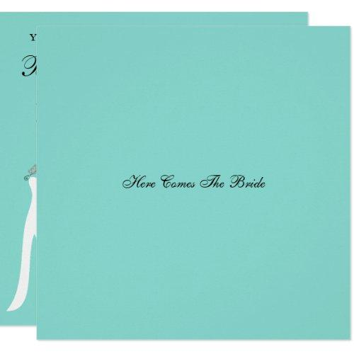 Here Comes The Bride Teal Blue Party Invitation
