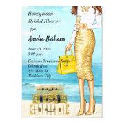 Honeymoon Bridal Shower Invitations Tropical