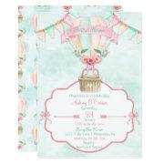 Hot Air Balloon Watercolor Pink Mint Peach Invitation