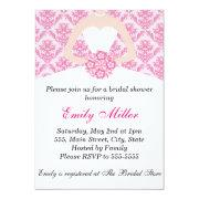 Hot Pink Damask Bridal Shower Flat Card Invitation