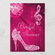 Hot Pink Disco Ball & Sparkle Heels Bridal Shower Invitation