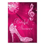 Hot Pink Disco Ball & Sparkle Heels Bridal Shower Invitation