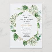 Hydrangea Gold Frame Bridal Shower By Mail Invitation