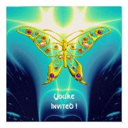 Hyper Butterfly Blue Turquase,yellow Gold Metallic