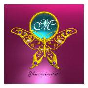 Hyper Butterfly Monogram,blue,aquamarine Pink