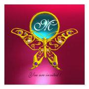 Hyper Butterfly Monogram,blue,aquamarine Pink Red