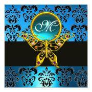 Hyper Butterfly Monogram,blue Damask,aquamarine