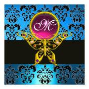 Hyper Butterfly Monogram,blue Damask, Pink Gem