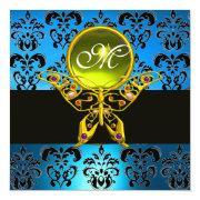 Hyper Butterfly Monogram,blue Damask, Yellow Gem