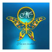 Hyper Butterfly Monogram,blue Turquase Aquamarine