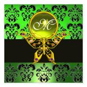 Hyper Butterfly Monogram,green Damask, Yellow Gem