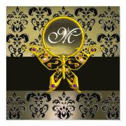 Hyper Butterfly Monogram,grey Damask Agate