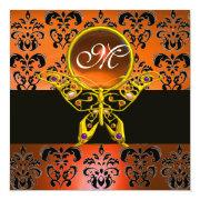 Hyper Butterfly Monogram, Orange Damask,yellow Gem